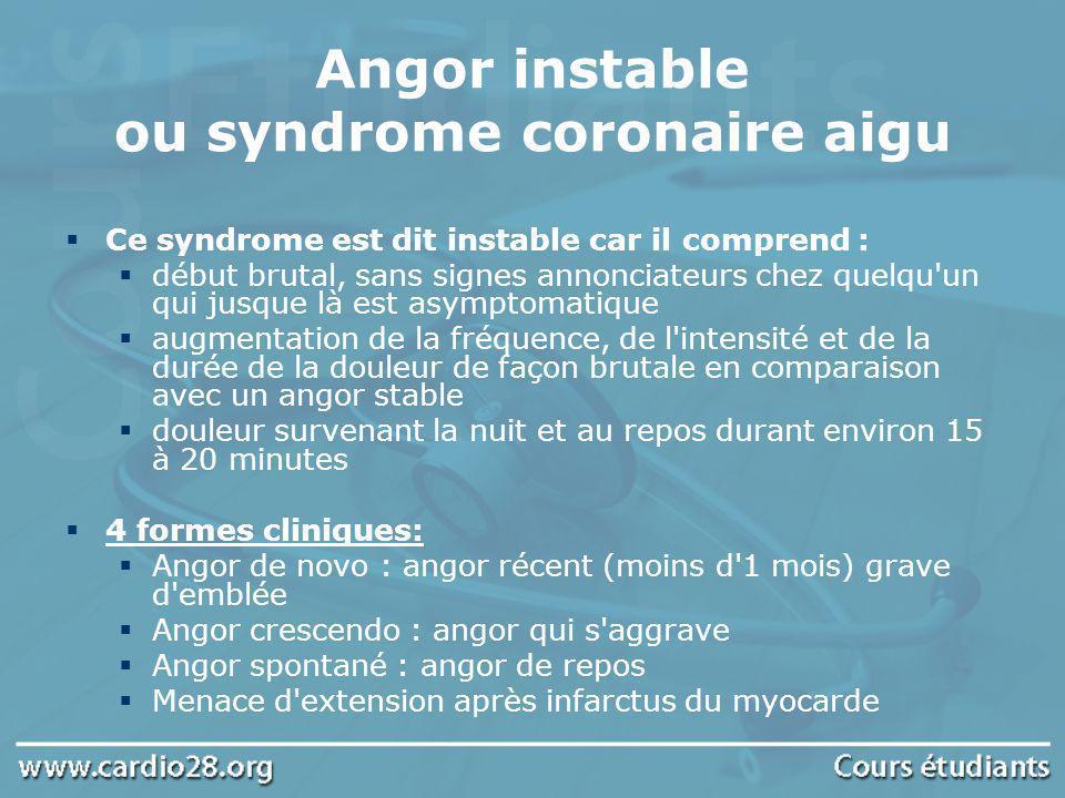Angor instable ou syndrome coronaire aigu