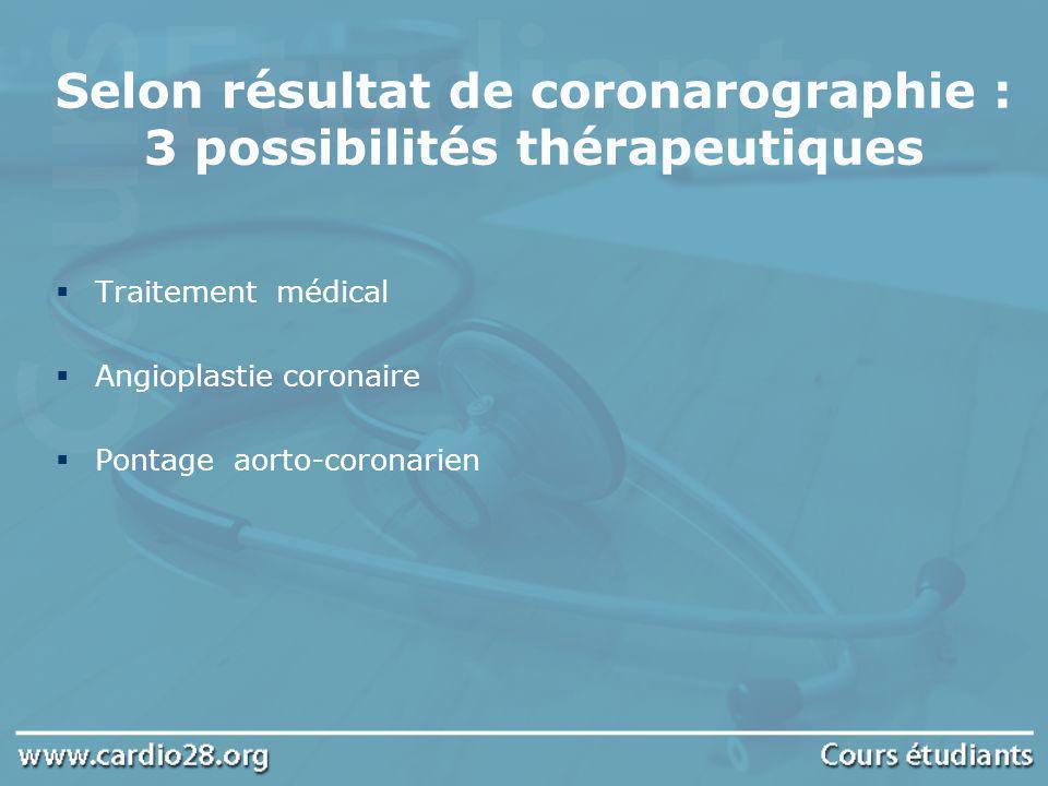 Selon résultat de coronarographie : 3 possibilités thérapeutiques