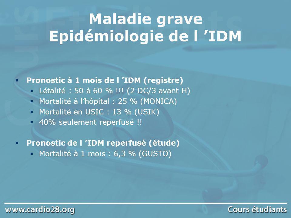 Maladie grave Epidémiologie de l 'IDM