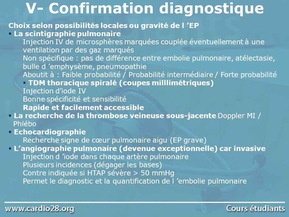 V- Confirmation diagnostique