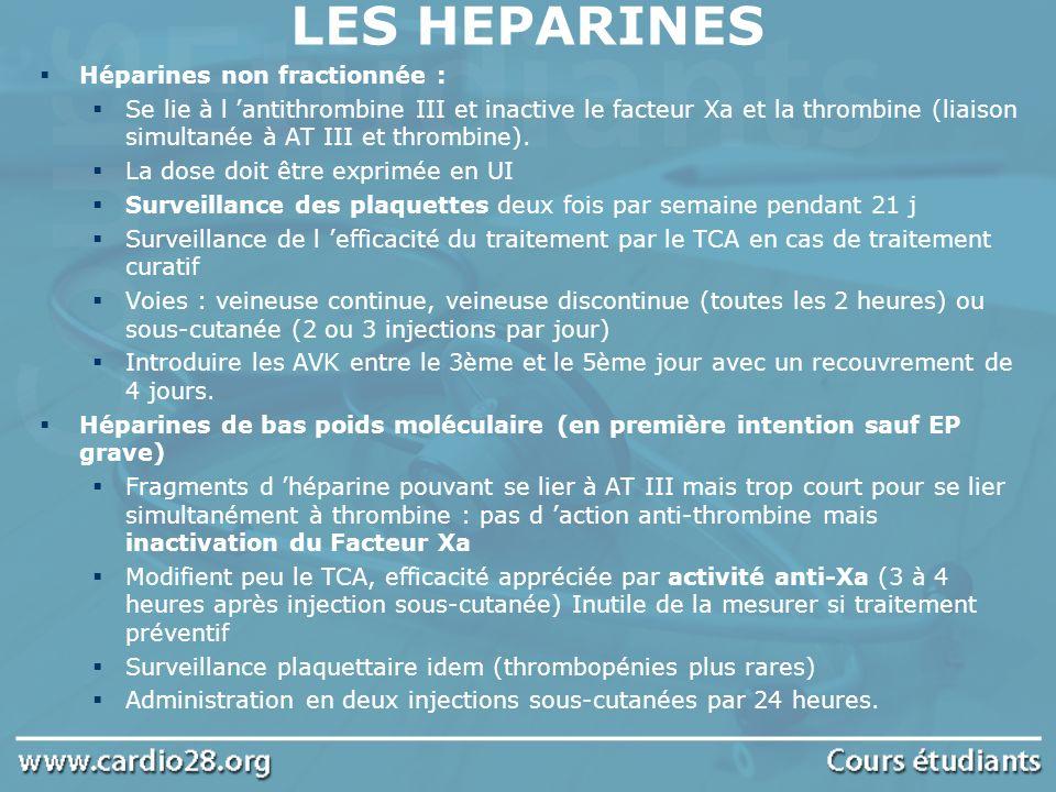 LES HEPARINES Héparines non fractionnée :