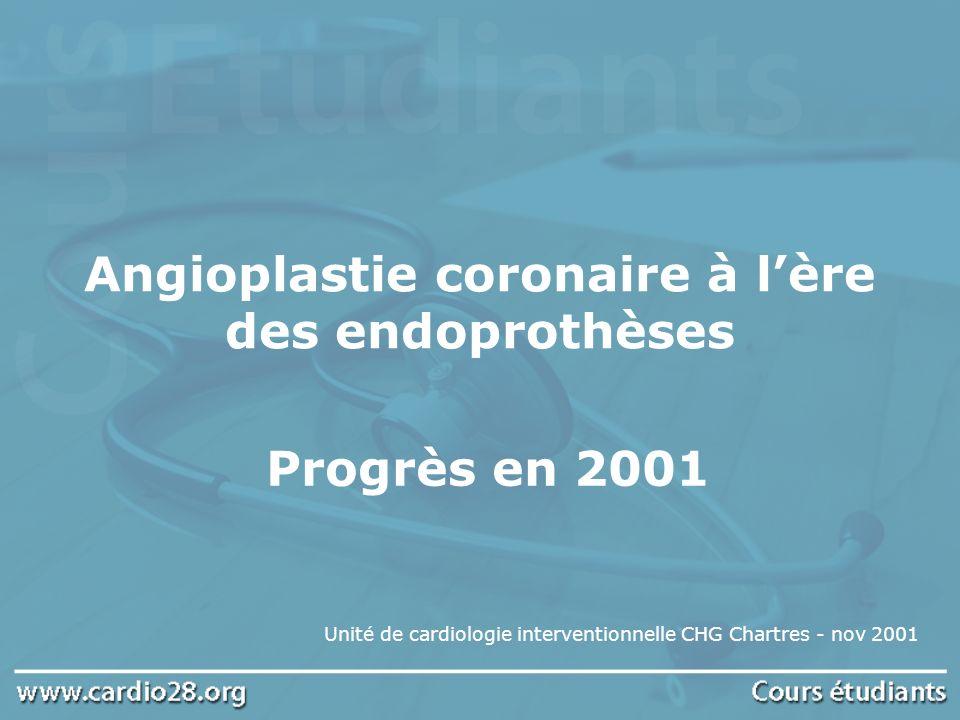 Angioplastie coronaire à l'ère des endoprothèses