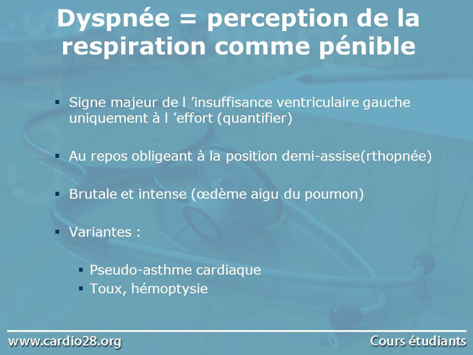 Dyspnée = perception de la respiration comme pénible
