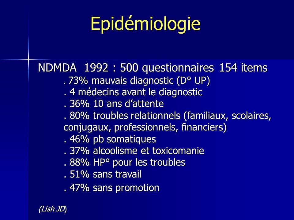 Epidémiologie NDMDA 1992 : 500 questionnaires 154 items