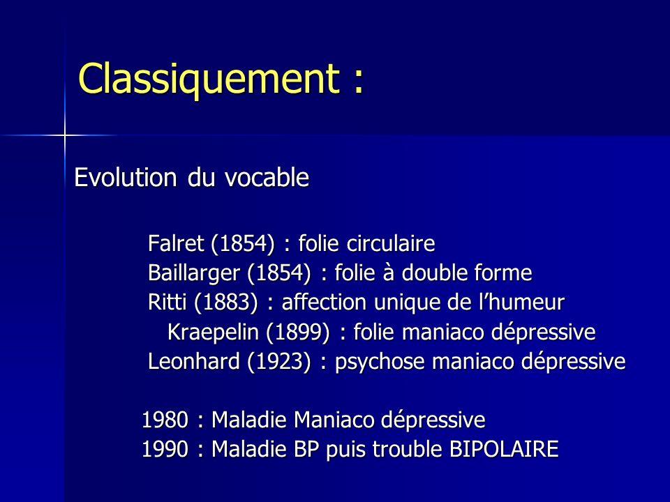 Classiquement : Evolution du vocable Falret (1854) : folie circulaire