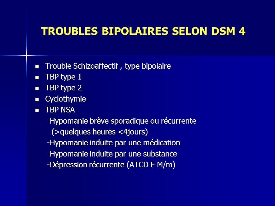 TROUBLES BIPOLAIRES SELON DSM 4