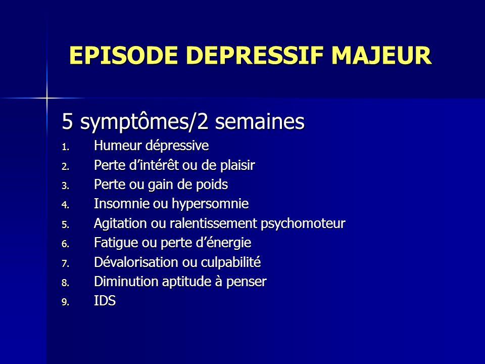EPISODE DEPRESSIF MAJEUR