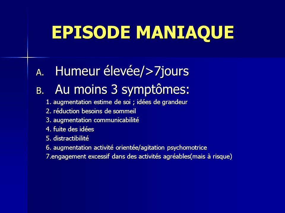 EPISODE MANIAQUE Humeur élevée/>7jours Au moins 3 symptômes: