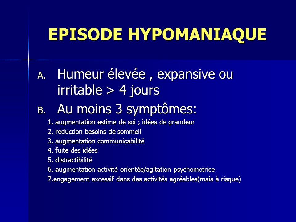 EPISODE HYPOMANIAQUE Humeur élevée , expansive ou irritable > 4 jours. Au moins 3 symptômes: 1. augmentation estime de soi ; idées de grandeur.