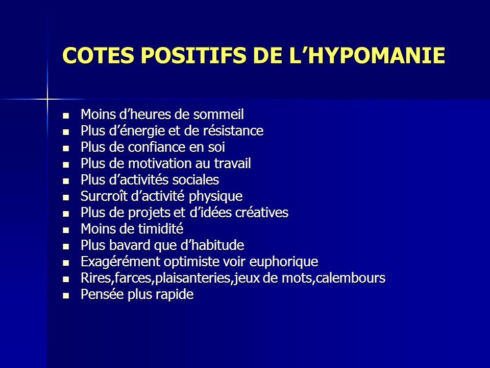 COTES POSITIFS DE L'HYPOMANIE
