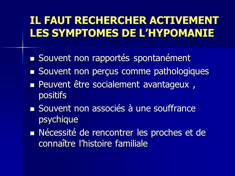 IL FAUT RECHERCHER ACTIVEMENT LES SYMPTOMES DE L'HYPOMANIE