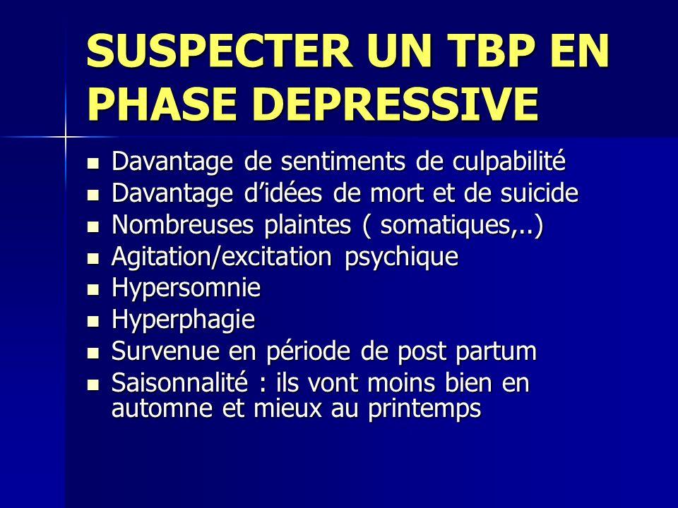 SUSPECTER UN TBP EN PHASE DEPRESSIVE