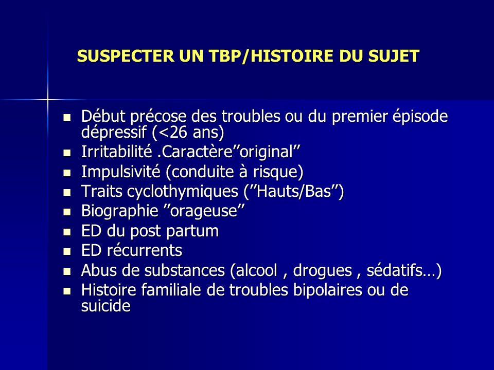 SUSPECTER UN TBP/HISTOIRE DU SUJET