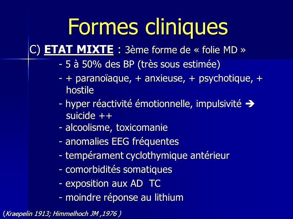 Formes cliniques C) ETAT MIXTE : 3ème forme de « folie MD »
