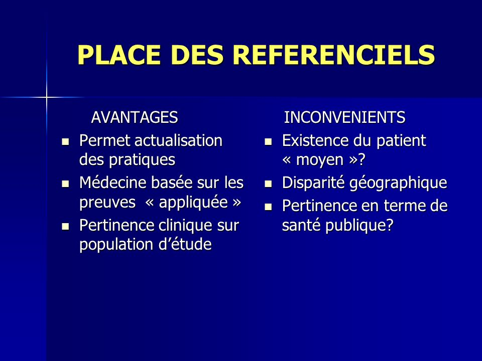PLACE DES REFERENCIELS