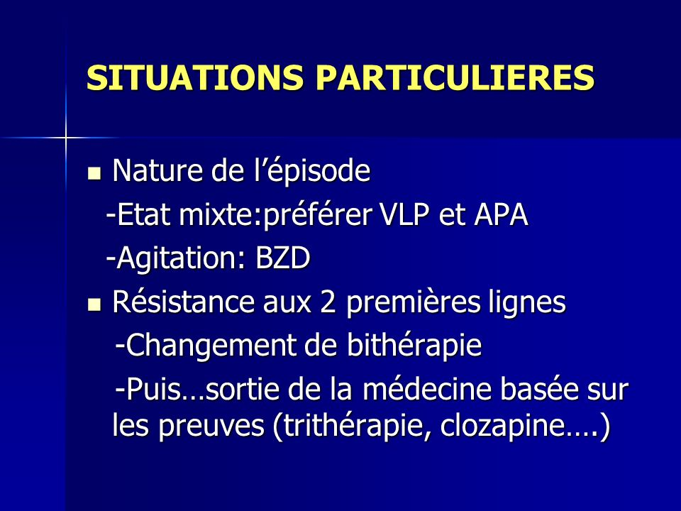 SITUATIONS PARTICULIERES