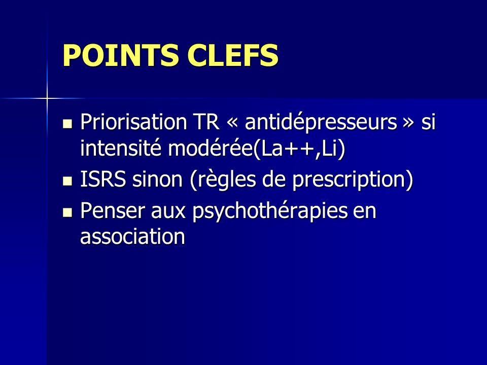 POINTS CLEFS Priorisation TR « antidépresseurs » si intensité modérée(La++,Li) ISRS sinon (règles de prescription)