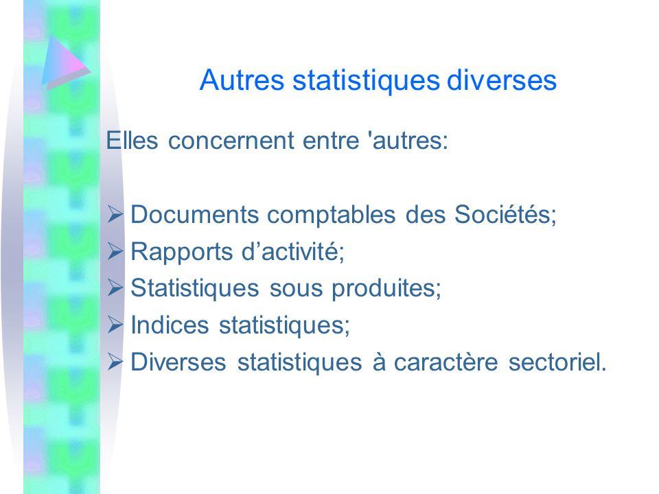 Autres statistiques diverses