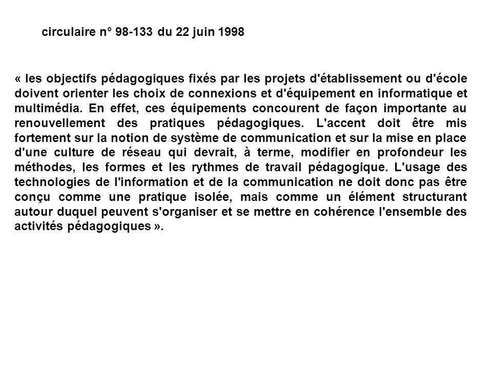circulaire n° 98-133 du 22 juin 1998