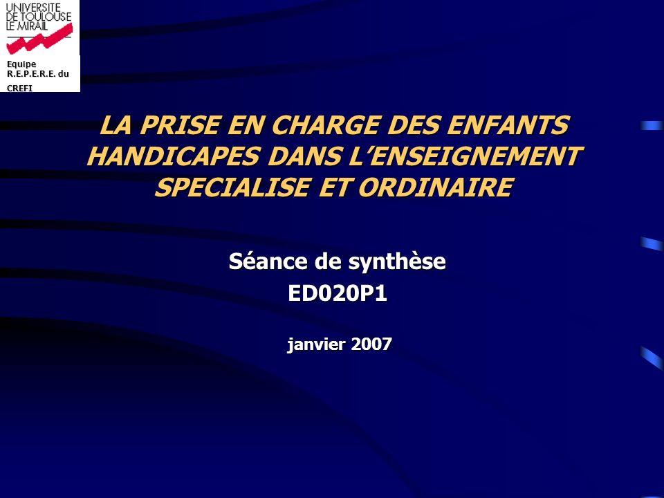 Séance de synthèse ED020P1 janvier 2007