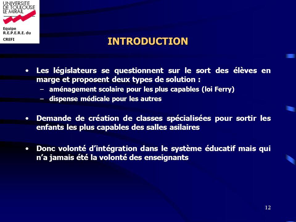 INTRODUCTION Les législateurs se questionnent sur le sort des élèves en marge et proposent deux types de solution :