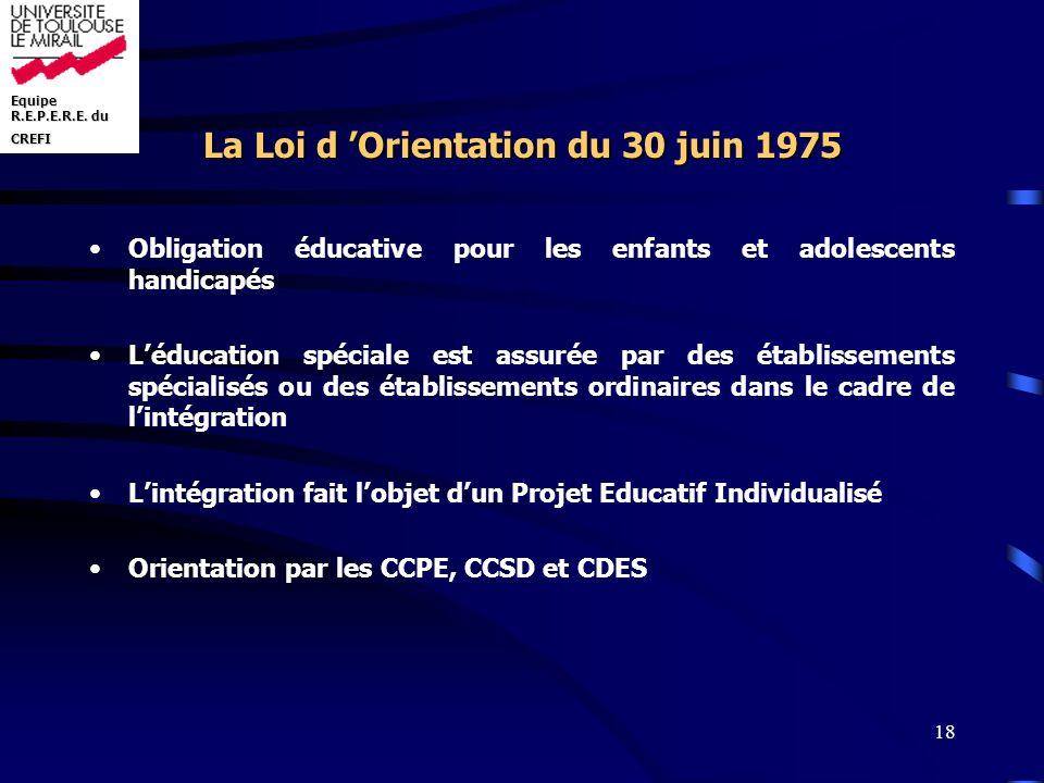 La Loi d 'Orientation du 30 juin 1975