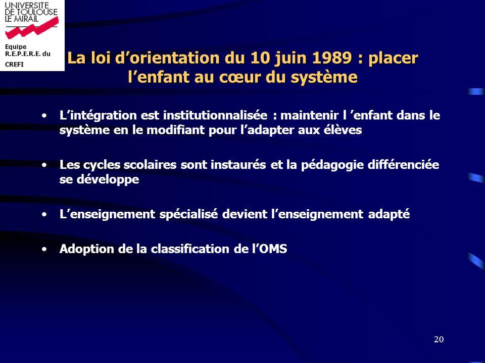 La loi d'orientation du 10 juin 1989 : placer l'enfant au cœur du système