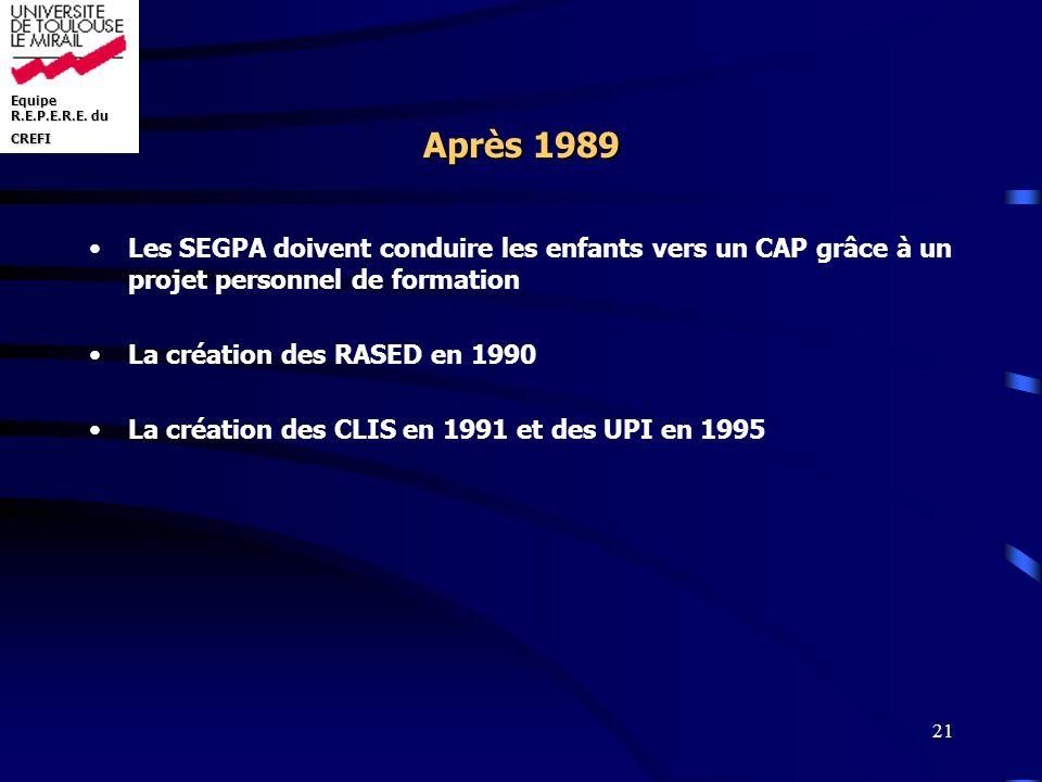 Après 1989 Les SEGPA doivent conduire les enfants vers un CAP grâce à un projet personnel de formation.