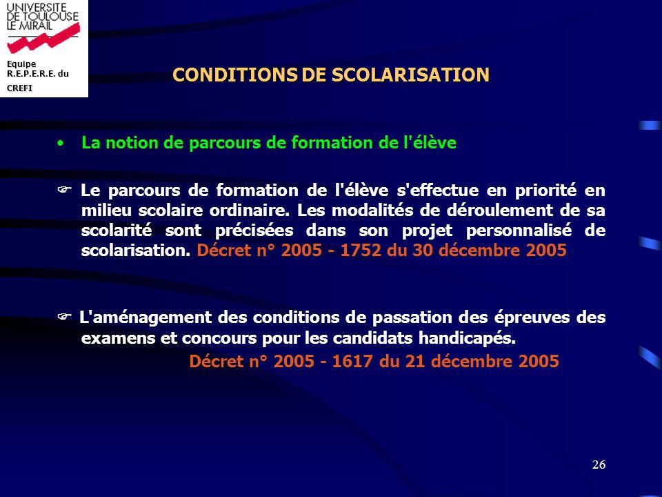 CONDITIONS DE SCOLARISATION