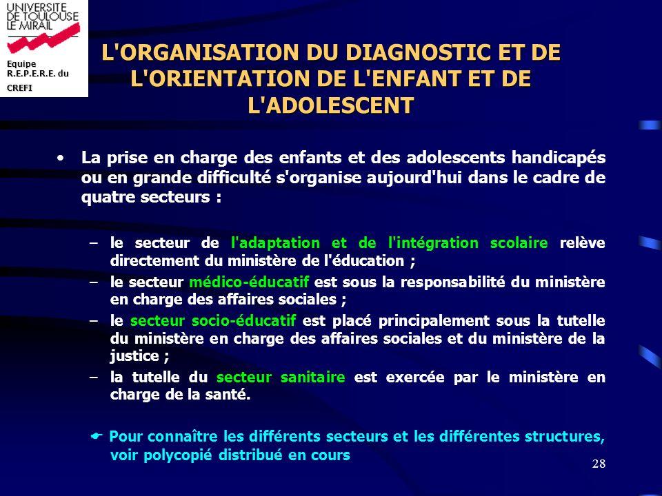 L ORGANISATION DU DIAGNOSTIC ET DE L ORIENTATION DE L ENFANT ET DE L ADOLESCENT
