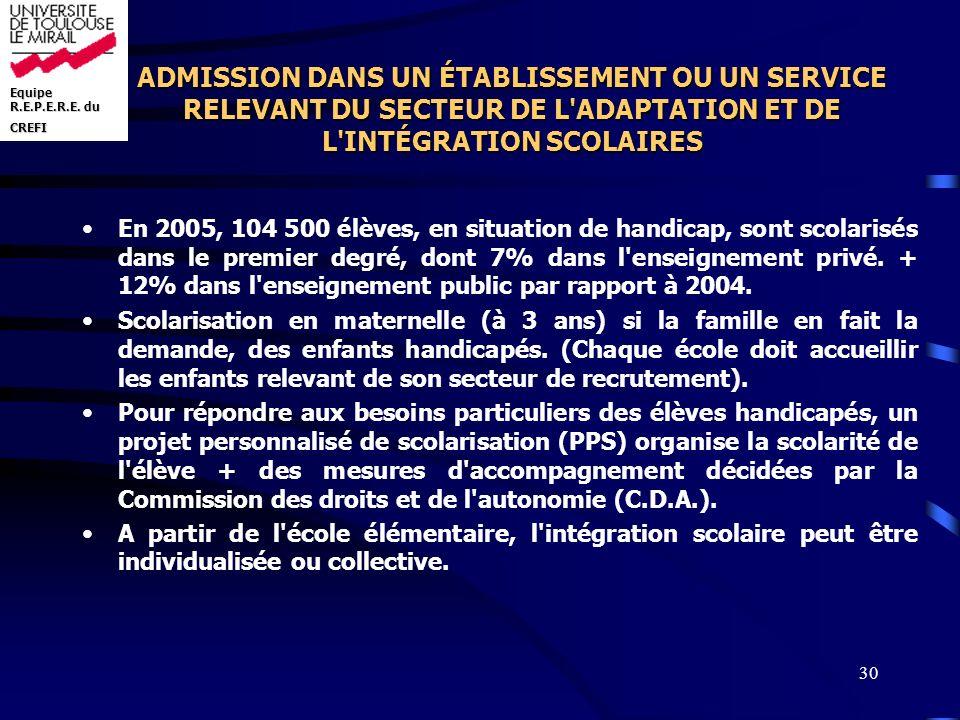 ADMISSION DANS UN ÉTABLISSEMENT OU UN SERVICE RELEVANT DU SECTEUR DE L ADAPTATION ET DE L INTÉGRATION SCOLAIRES