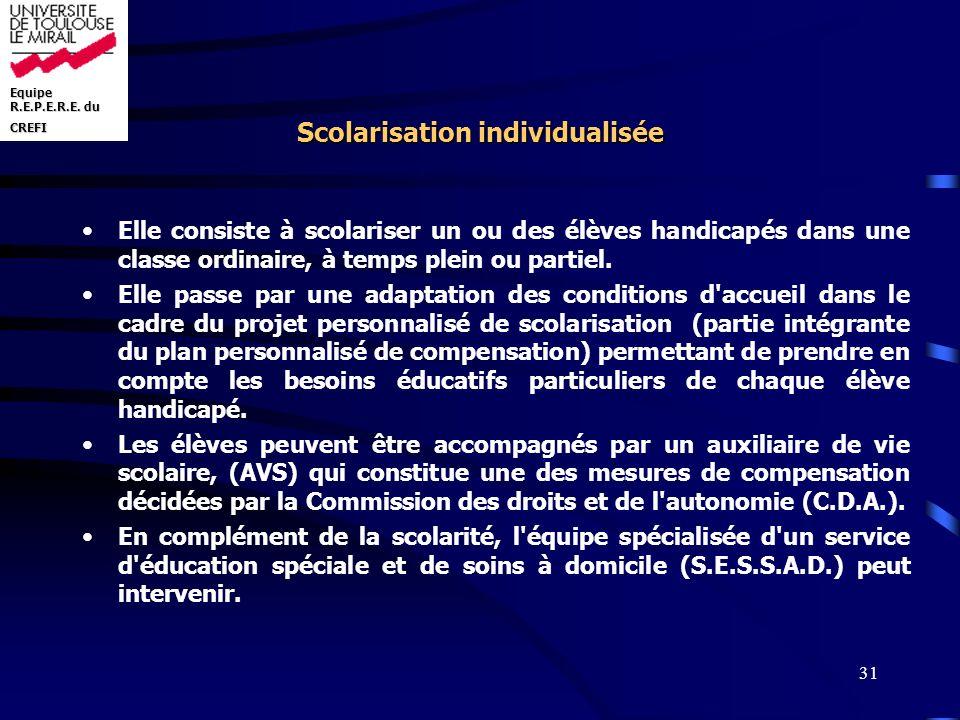 Scolarisation individualisée