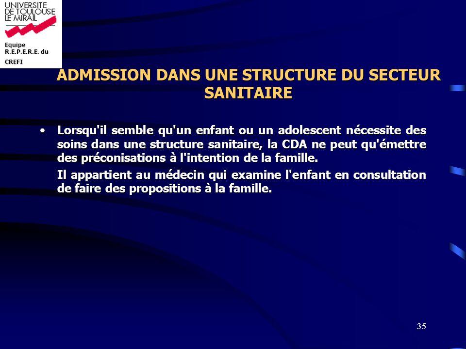 ADMISSION DANS UNE STRUCTURE DU SECTEUR SANITAIRE
