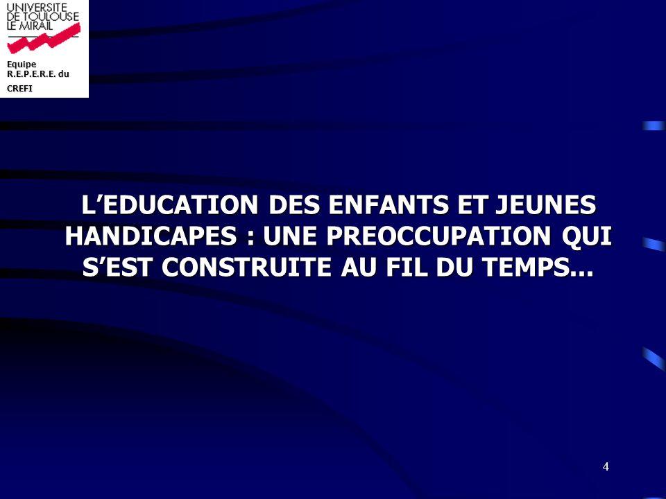 L'EDUCATION DES ENFANTS ET JEUNES HANDICAPES : UNE PREOCCUPATION QUI S'EST CONSTRUITE AU FIL DU TEMPS...