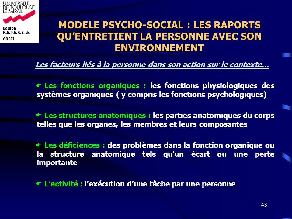 MODELE PSYCHO-SOCIAL : LES RAPORTS QU'ENTRETIENT LA PERSONNE AVEC SON ENVIRONNEMENT