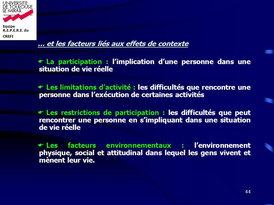 … et les facteurs liés aux effets de contexte
