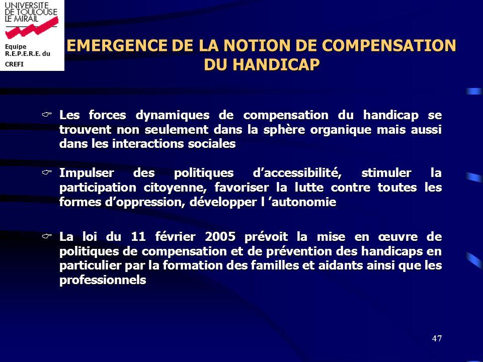 EMERGENCE DE LA NOTION DE COMPENSATION DU HANDICAP