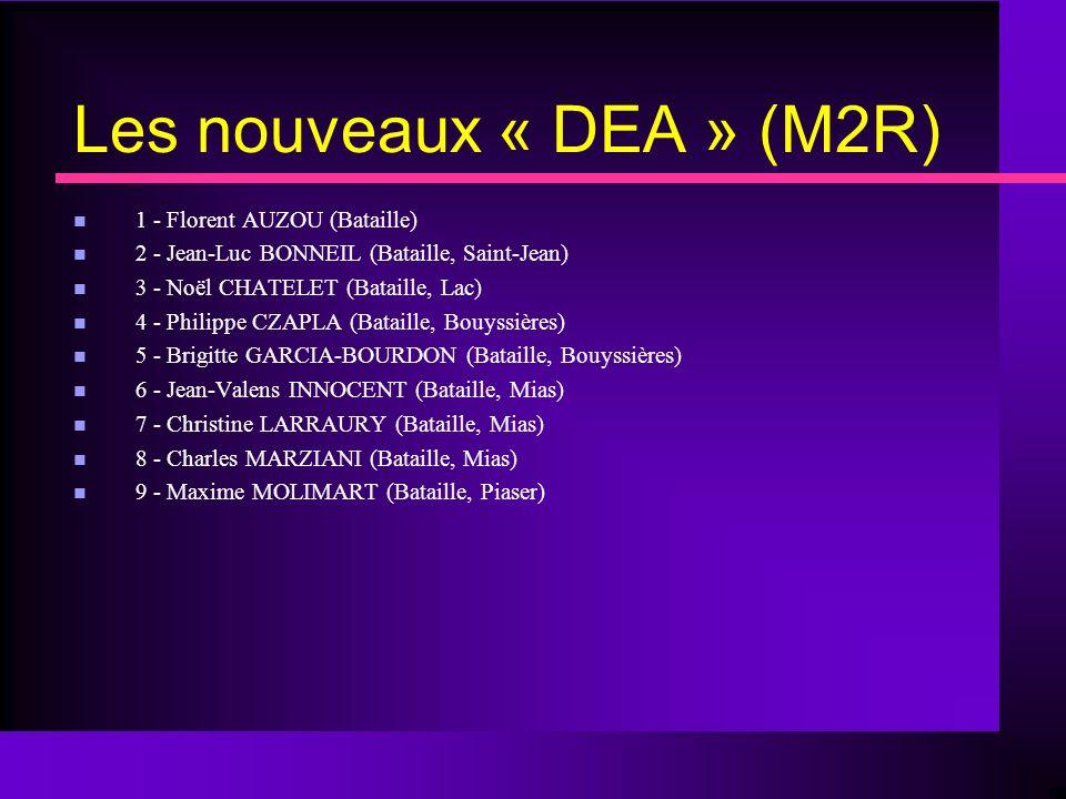 Les nouveaux « DEA » (M2R)