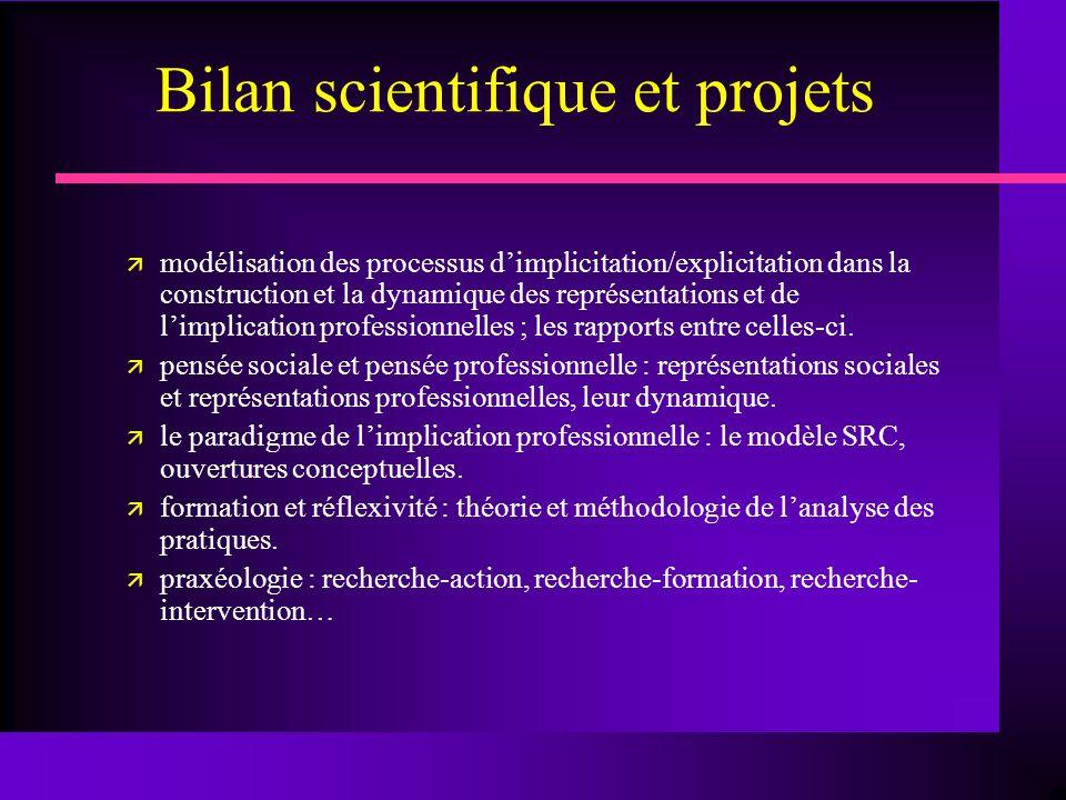 Bilan scientifique et projets