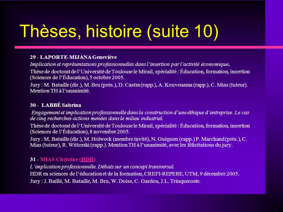 Thèses, histoire (suite 10)