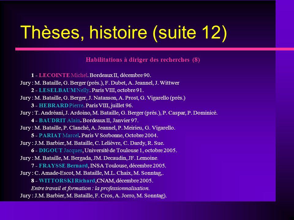 Thèses, histoire (suite 12)