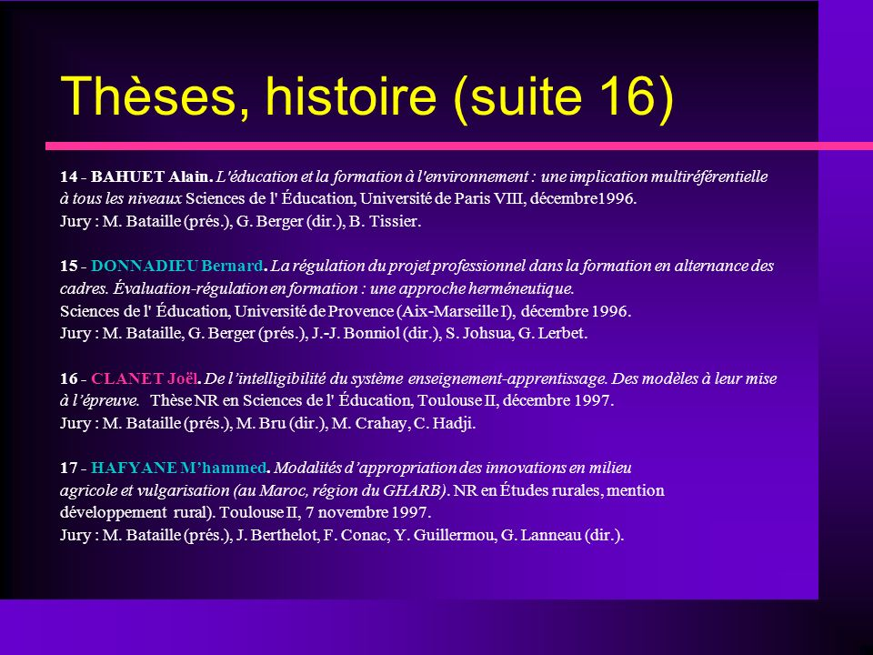 Thèses, histoire (suite 16)