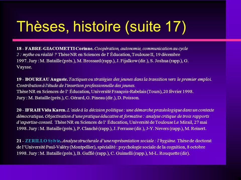 Thèses, histoire (suite 17)