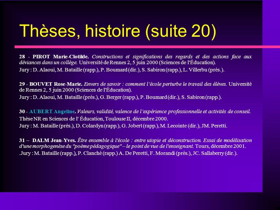 Thèses, histoire (suite 20)