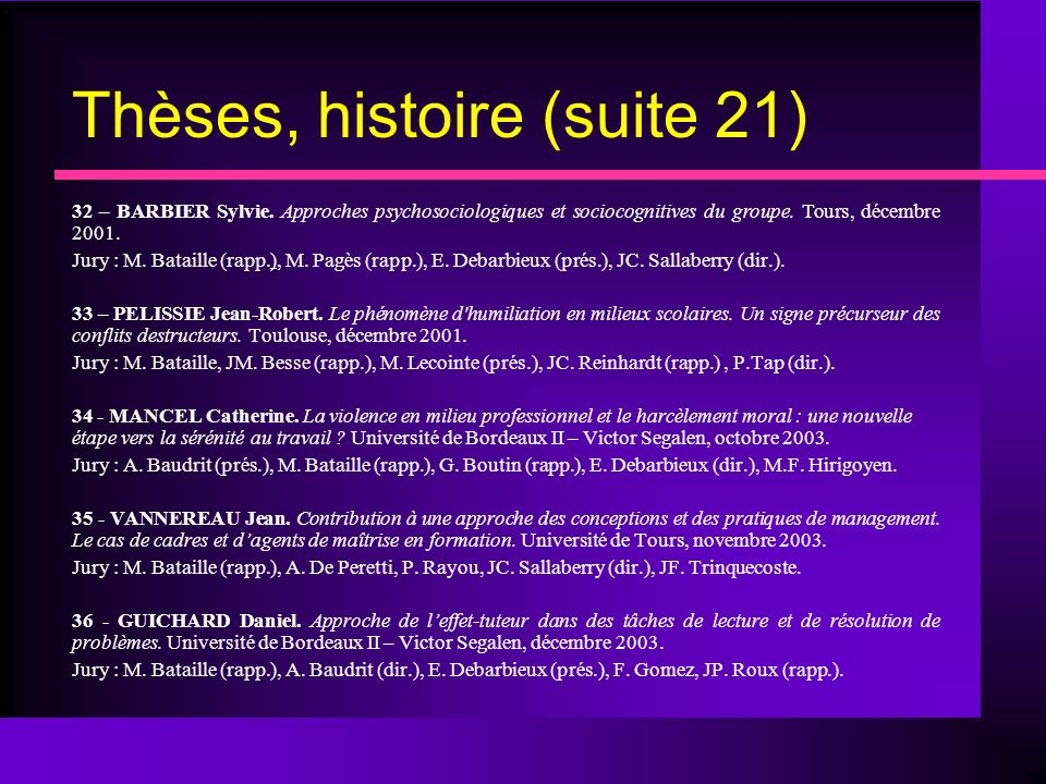 Thèses, histoire (suite 21)