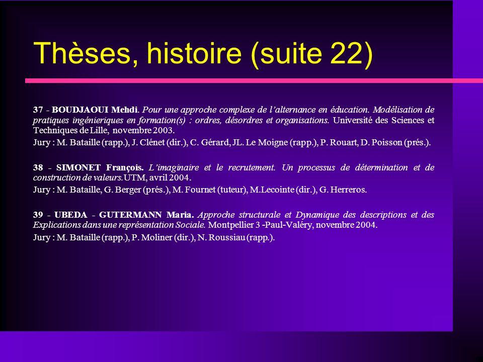 Thèses, histoire (suite 22)