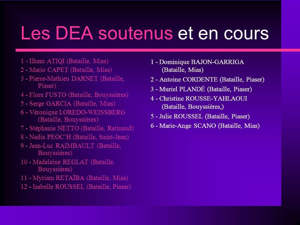 Les DEA soutenus et en cours