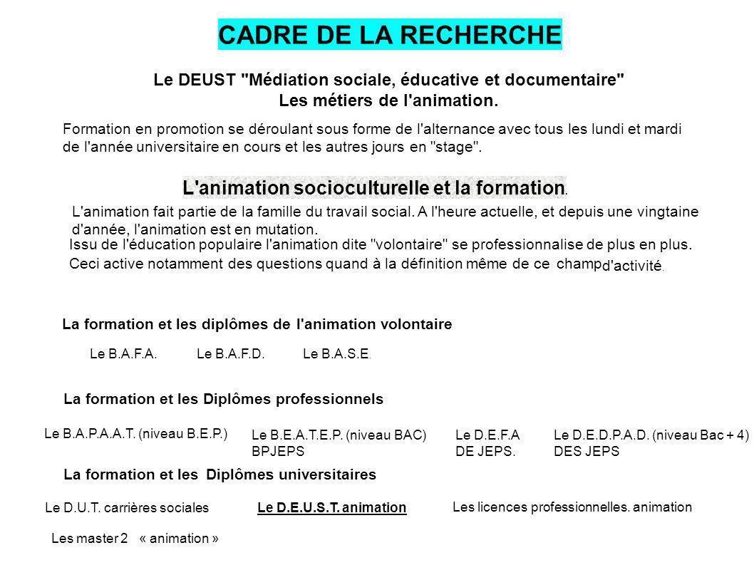 CADRE DE LA RECHERCHE L animation socioculturelle et la formation.