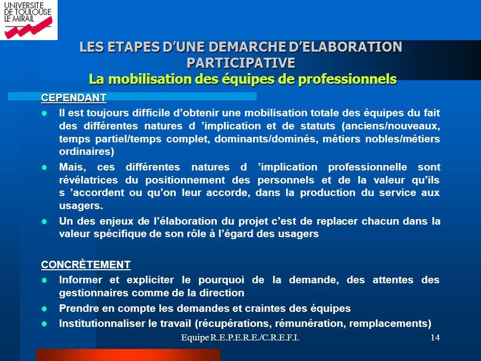 LES ETAPES D'UNE DEMARCHE D'ELABORATION PARTICIPATIVE La mobilisation des équipes de professionnels