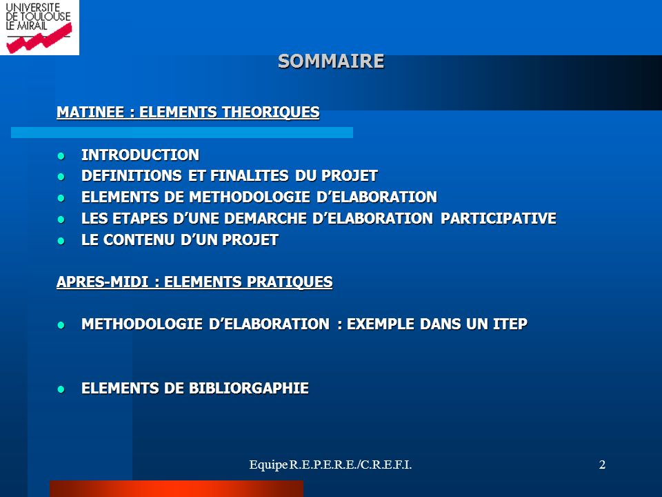 SOMMAIRE MATINEE : ELEMENTS THEORIQUES INTRODUCTION